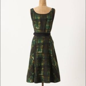 Anthropologie Maeve Green Plaid Dress
